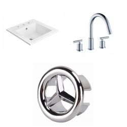 American Imaginations 21- inch W 3H8- inch Ceramic Top Set In White Colour - CUPC Faucet Incl.