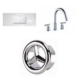 American Imaginations 39.75- inch W 3H8- inch Ceramic Top Set In White Colour - CUPC Faucet Incl.