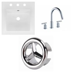 American Imaginations 16.5- inch W 3H8- inch Ceramic Top Set In White Color - CUPC Faucet Incl.