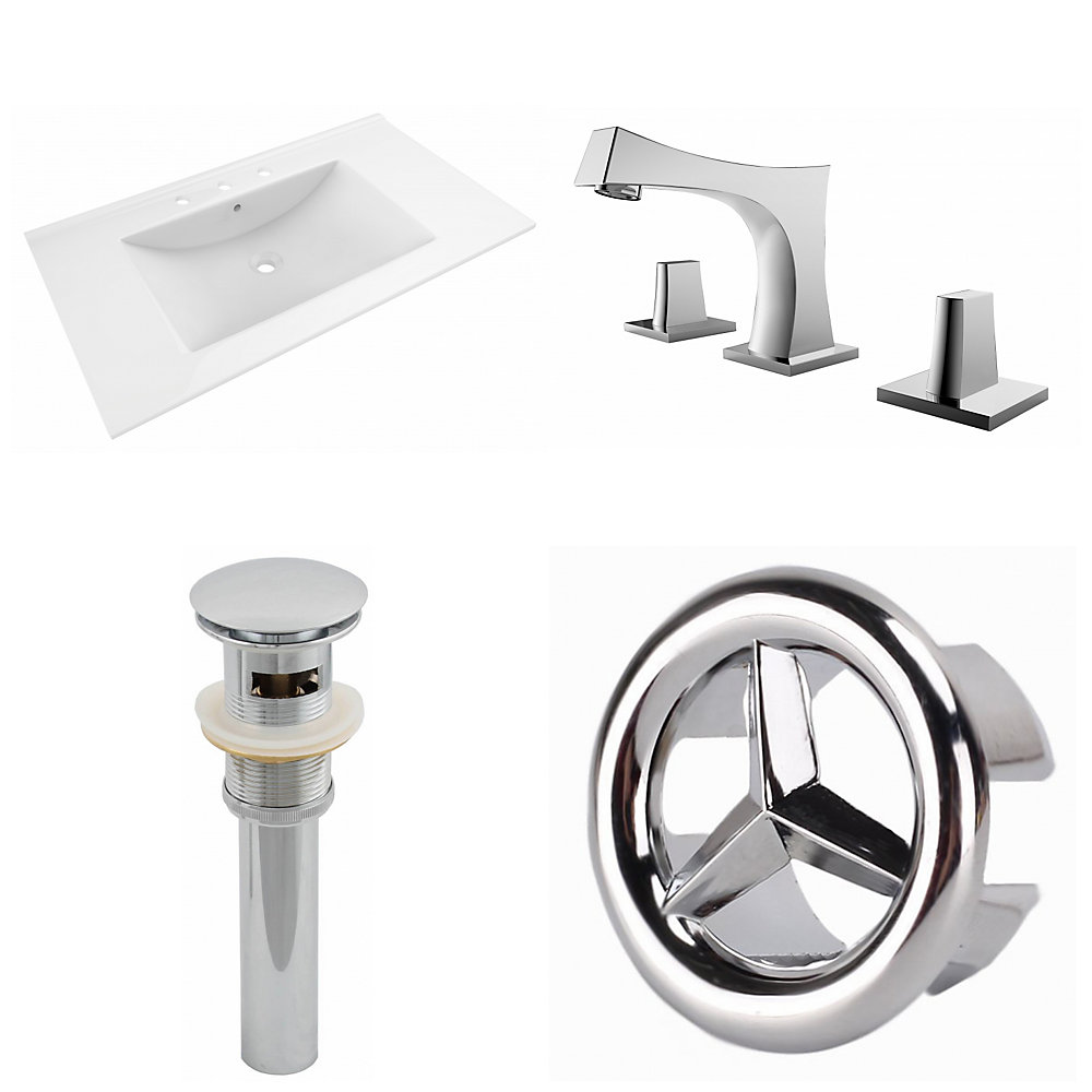 35.5- inch W 3H8- inch Ceramic Top Set In White Color-CUPC Faucet Incl-Overflow Drain Incl.