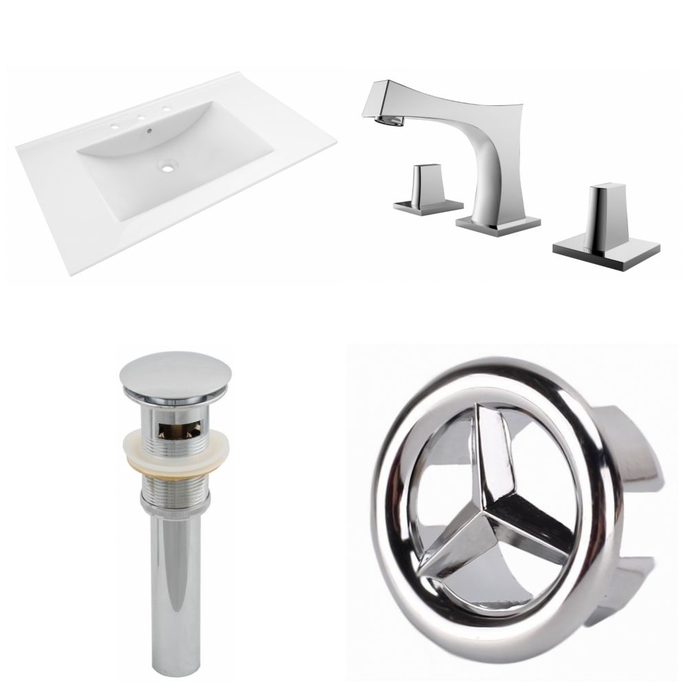 American Imaginations 35.5- inch W 3H8- inch Ceramic Top Set In White Color-CUPC Faucet Incl-Overflow Drain Incl.
