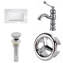 American Imaginations 23.75- inch W 1 Hole Ceramic Top Set In White Color - CUPC Faucet Incl-Overflow Drain Incl.