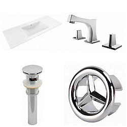 American Imaginations 48- inch W 3H8- inch Ceramic Top Set In White Color - CUPC Faucet Incl-Overflow Drain Incl.