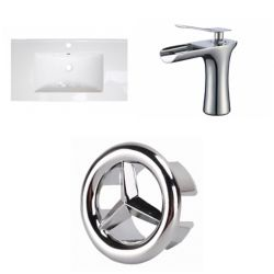 American Imaginations 32- inch W 1 Hole Ceramic Top Set In White Color - CUPC Faucet Incl.