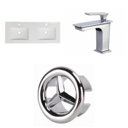 American Imaginations 59- inch W 1 Hole Ceramic Top Set In White Colour - CUPC Faucet Incl.