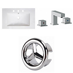 American Imaginations 30- inch W 3H8- inch Ceramic Top Set In White Color - CUPC Faucet Incl.