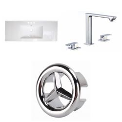American Imaginations 48.75- inch W 3H8- inch Ceramic Top Set In White Color - CUPC Faucet Incl.