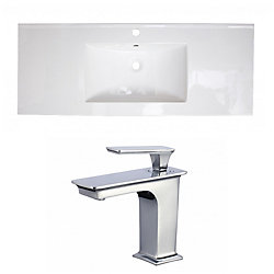 American Imaginations 39.75- inch W 1 Hole Ceramic Top Set In White Colour - CUPC Faucet Incl.