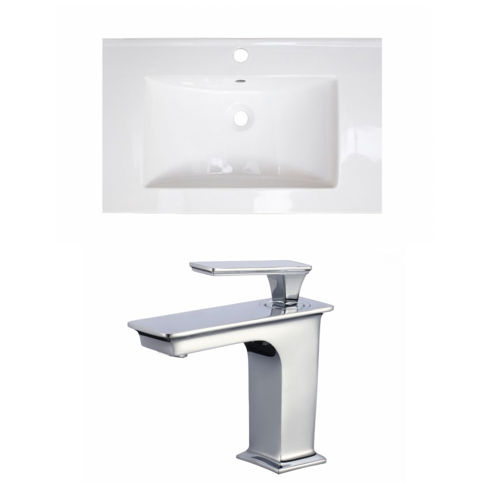 American Imaginations 24- inch W 1 Hole Ceramic Top Set In White colour - CUPC Faucet Incl.