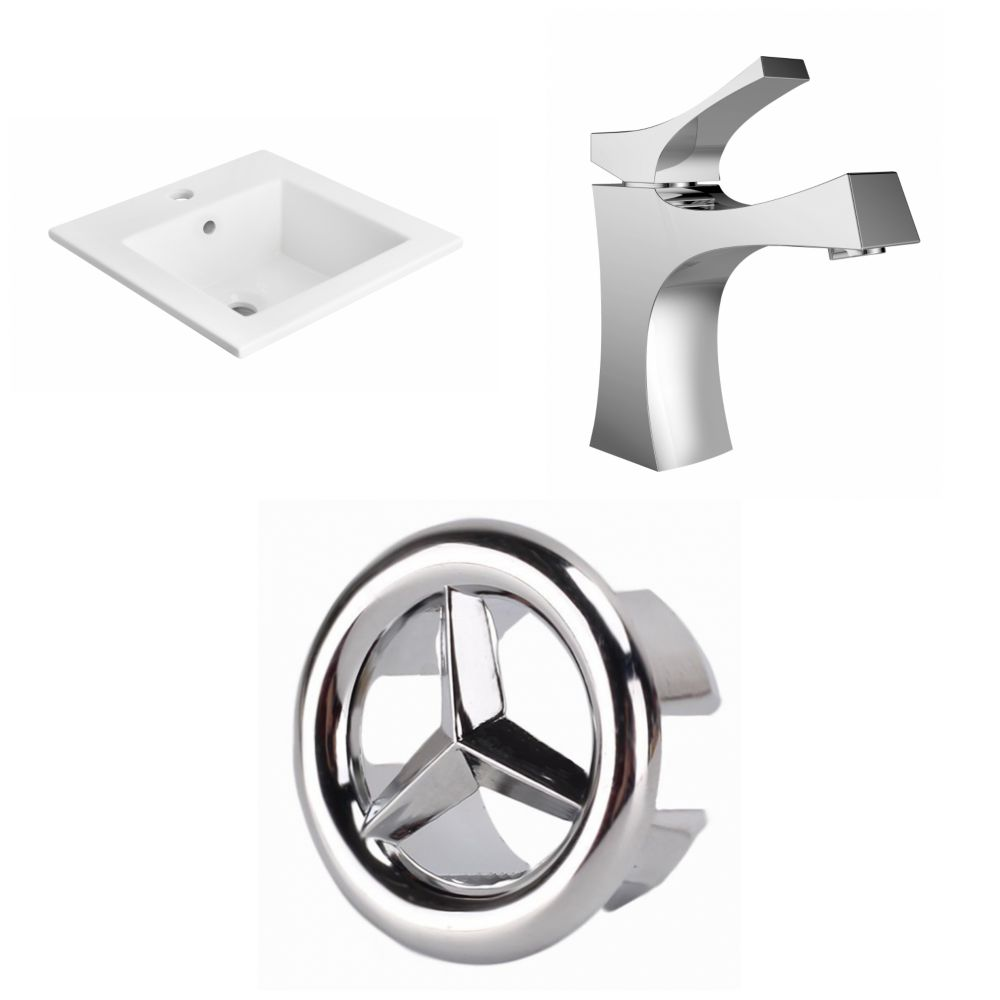 American Imaginations 21- inch W 1 Hole Ceramic Top Set In White Color - CUPC Faucet Incl.