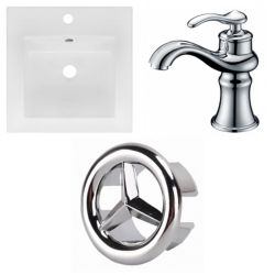 American Imaginations 16.5- inch W 1 Hole Ceramic Top Set In White Colour - CUPC Faucet Incl.