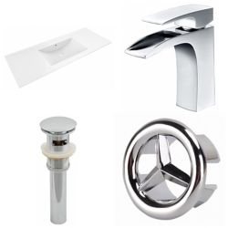 American Imaginations 48- inch W 1 Hole Ceramic Top Set In White Color - CUPC Faucet Incl-Overflow Drain Incl.