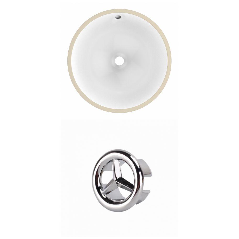 American Imaginations 15.25- inch W Round Undermount Sink Set In White - Chrome Hardware
