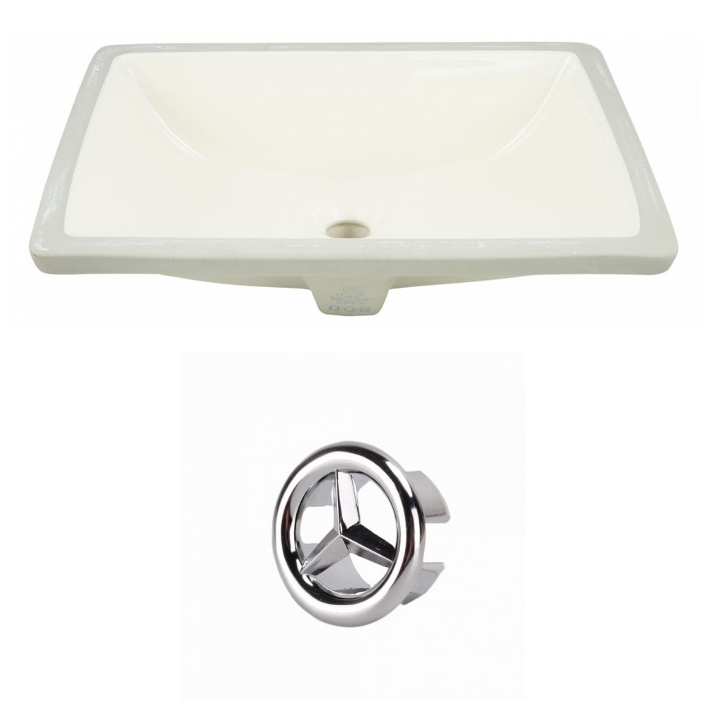 American Imaginations 18.25- inch W CUPC Rectangle Undermount Sink Set In Biscuit - Chrome Hardware