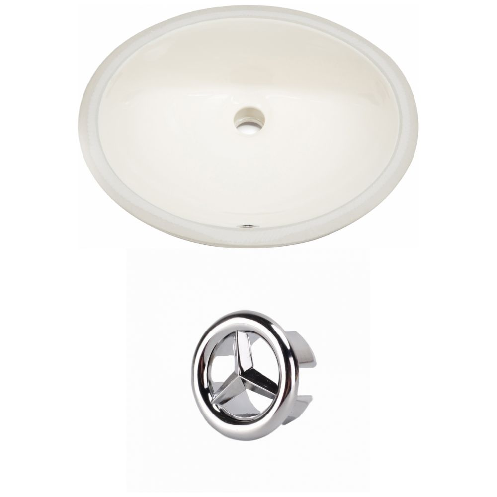 American Imaginations 19.5- inch W CUPC Oval Undermount Sink Set In Biscuit - Chrome Hardware