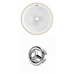 American Imaginations 15- inch W CSA Round Undermount Sink Set In White - Chrome Hardware