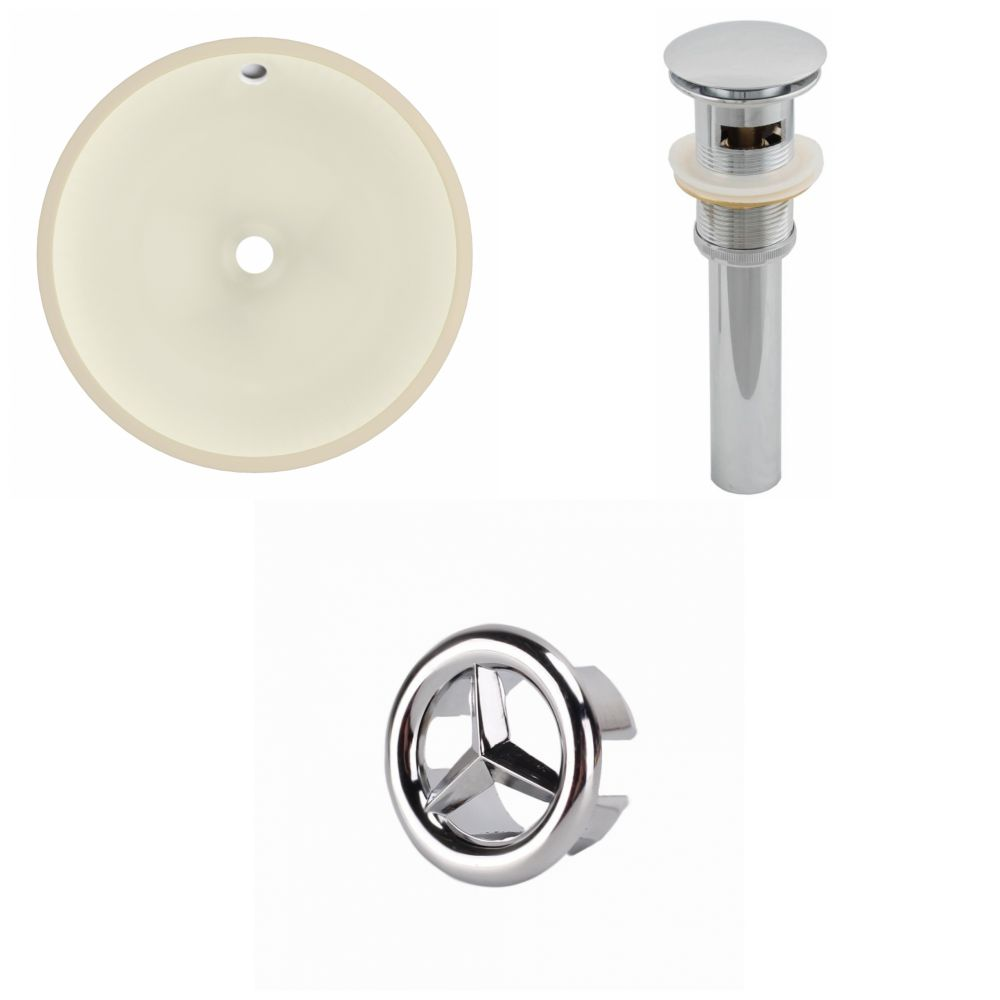 American Imaginations 16- inch W Round Undermount Sink Set In Biscuit - Chrome Hardware - Overflow Drain Incl.
