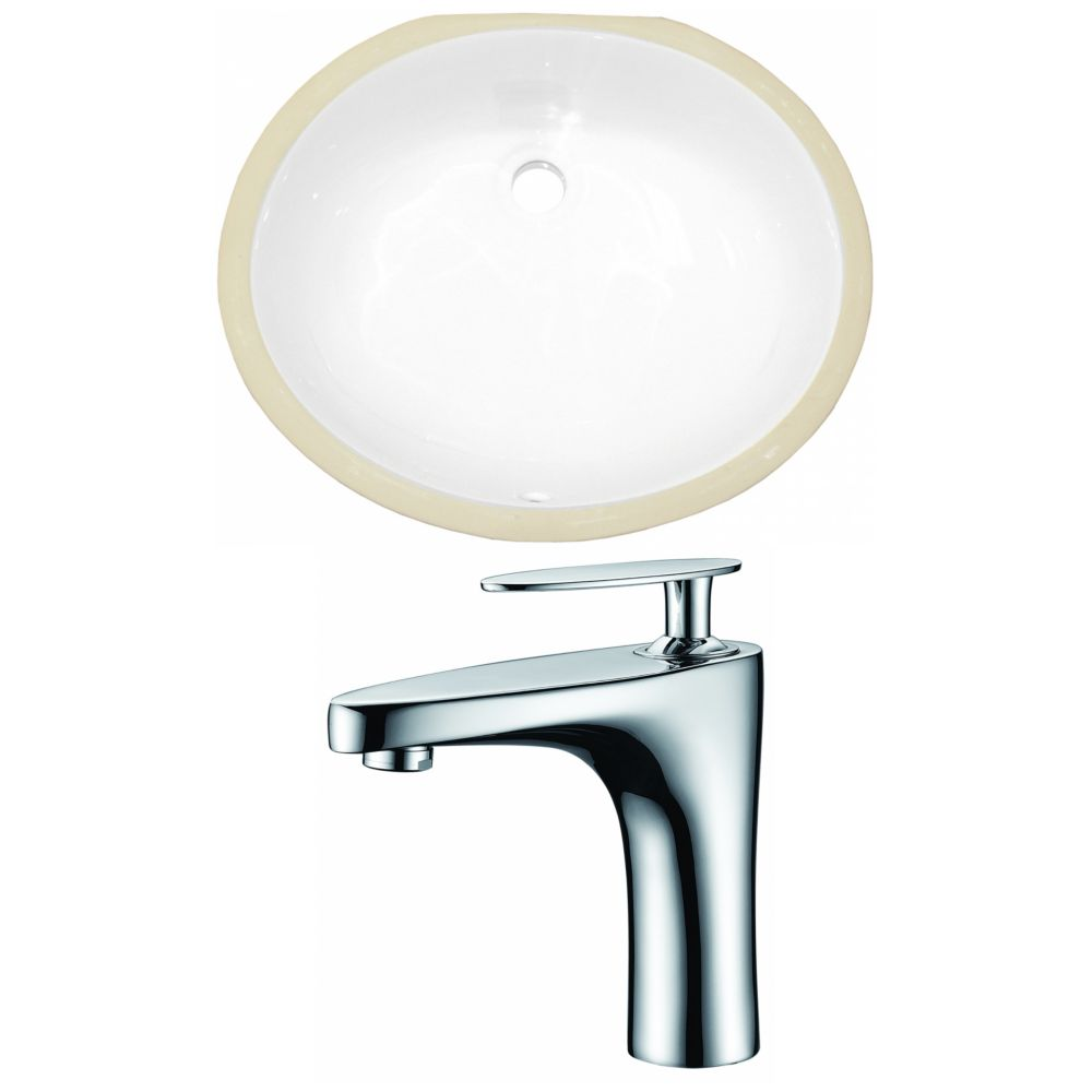 American Imaginations 19.5- inch W Oval Undermount Sink Set In White - Chrome Hardware With 1 Hole CUPC Faucet