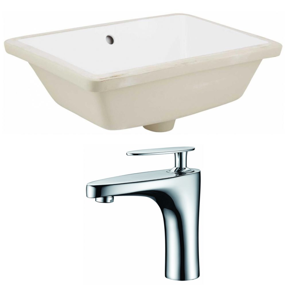 American Imaginations 18.25- inch W Rectangle Undermount Sink Set In White - Chrome Hardware With 1 Hole CUPC Faucet
