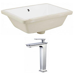 American Imaginations 18.25- inch W Rectangle Undermount Sink Set In White - Chrome Hardware With Deck Mount CUPC Faucet
