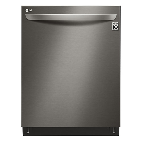 24-inch Top-Control Dishwasher with 3rd Rack and QuadWash in Black Stainless Steel