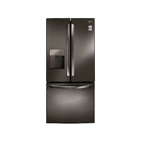 30-inch 22 cu. ft. French Door Refrigerator with Water and Ice Dispenser in Black Stainless Steel