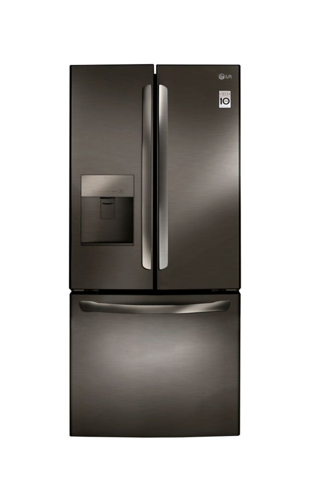 LG Electronics 30-inch 22 cu. ft. French Door Refrigerator with Water and Ice Dispenser in Black Stainless Steel