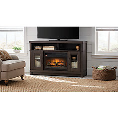 54-inch Media Electric Fireplace in Gray Oak Finish