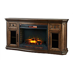Georgian Hills 65-inch Bow Front Media Console Electric Fireplace in Oak Finish