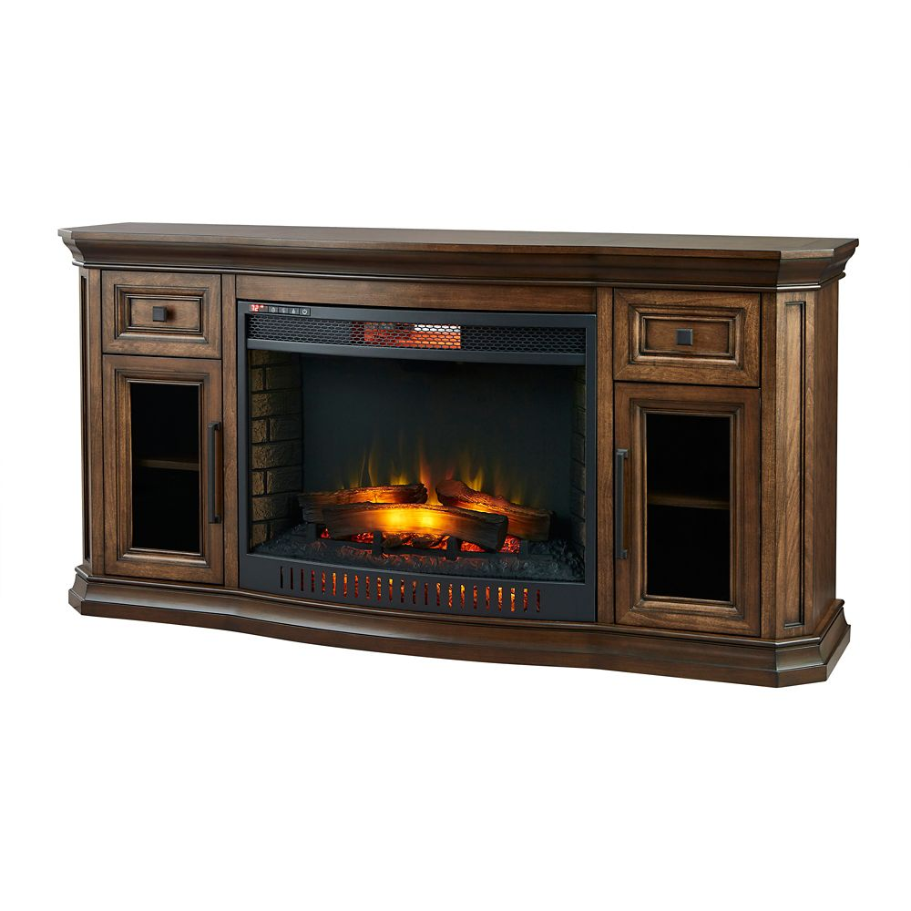 Home Decorators Collection Georgian Hills 65-inch Bow Front Media Console Electric Fireplace in Oak Finish