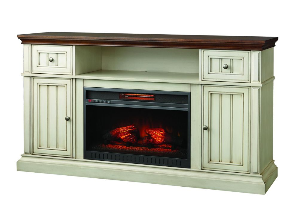 Home Decorators Collection Montauk Shore 60-inch Media Console Electric Fireplace in Antique White and Medium Cherry Finish