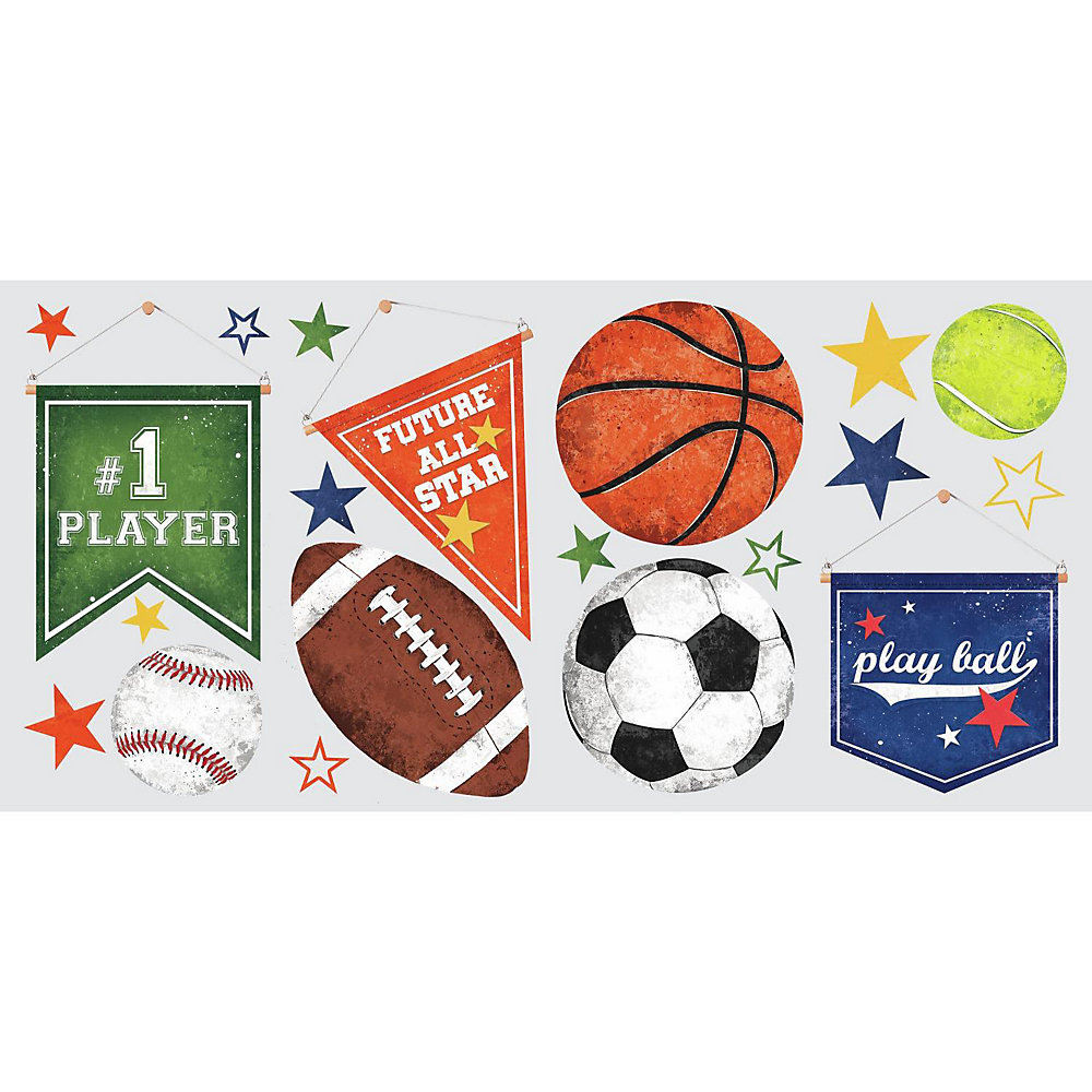 Sports Ball Peel and Stick Wall Decals