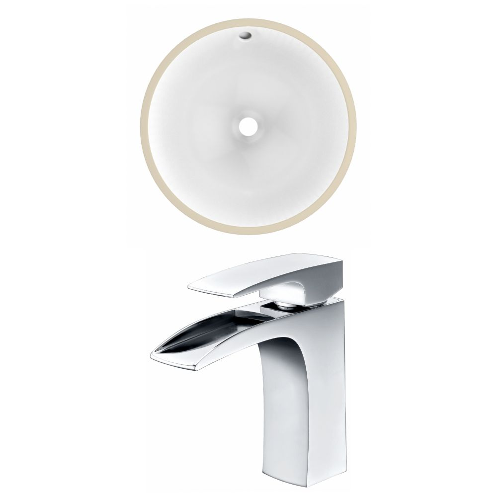 American Imaginations 15.75- inch W CUPC Round Undermount Sink Set In White - Chrome Hardware With 1 Hole CUPC Faucet