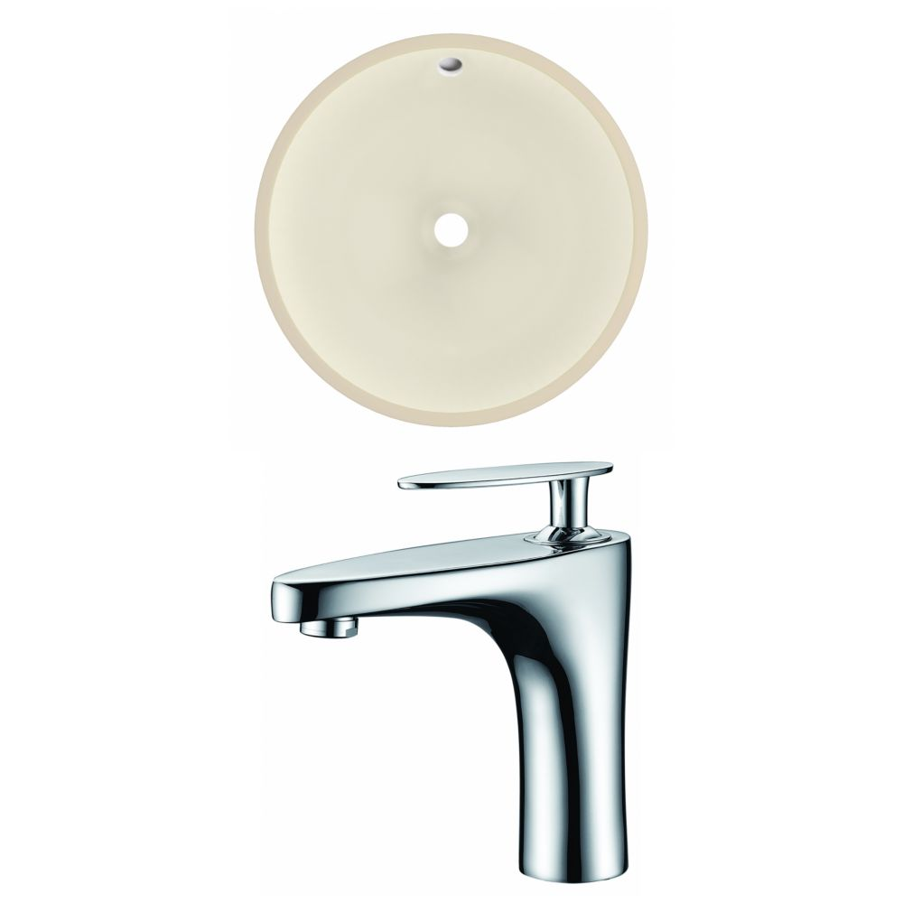 American Imaginations 15.5- inch W CUPC Round Undermount Sink Set In Biscuit - Chrome Hardware With 1 Hole CUPC Faucet