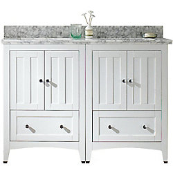 American Imaginations 47.5- inch W Floor Mount White Vanity Set For 1 Hole Drilling Bianca Carrara Top White UM Sink
