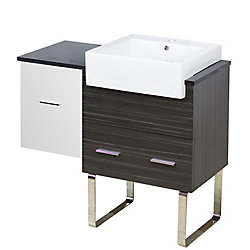 American Imaginations 36.75- inch W Floor Mount White-Dawn Grey Vanity Set For 1 Hole Drilling Black Galaxy Top