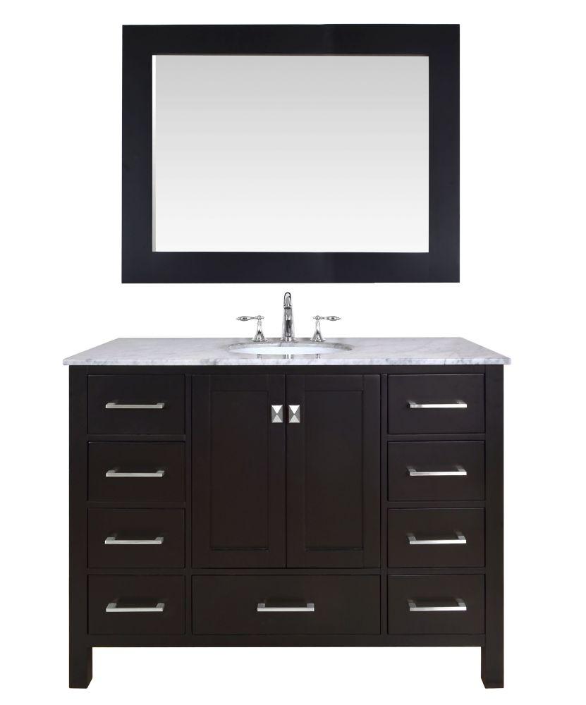 Stufurhome 48 inch Malibu Espresso Single Sink Bathroom