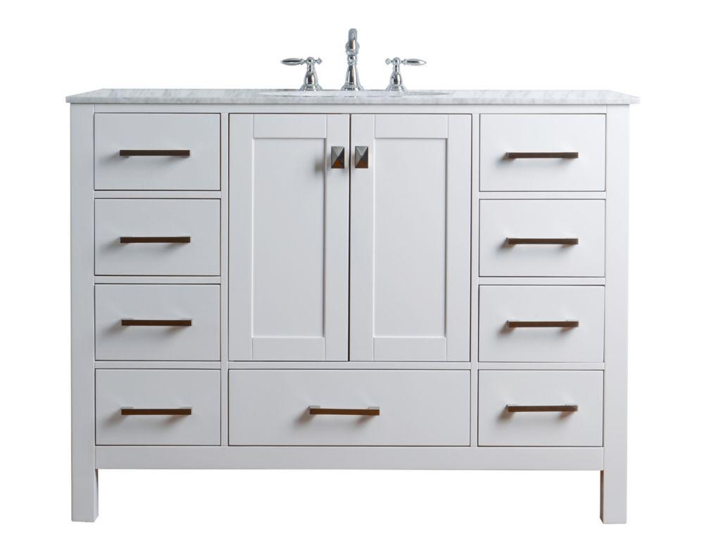 Stufurhome 48 inch Malibu Pure White Single Sink Bathroom Vanity