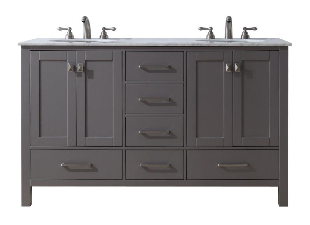 Stufurhome 60 inch Malibu Grey Double Sink Bathroom