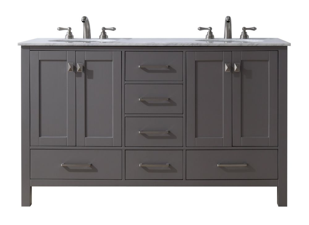 Stufurhome 60 inch Malibu Grey Double Sink Bathroom Vanity