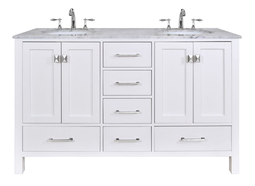 Glacier bay rocara 60 inch w vanity combo with white - Small bathroom sink and vanity combo ...