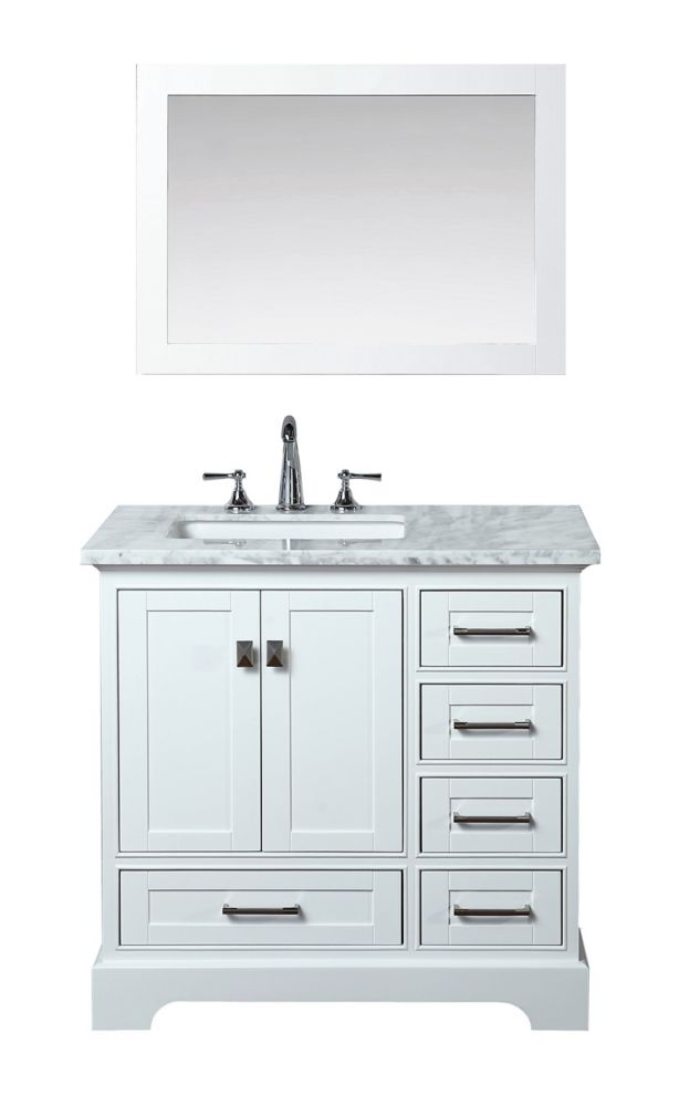 Stufurhome Newport White 36 Inch Single Sink Bathroom