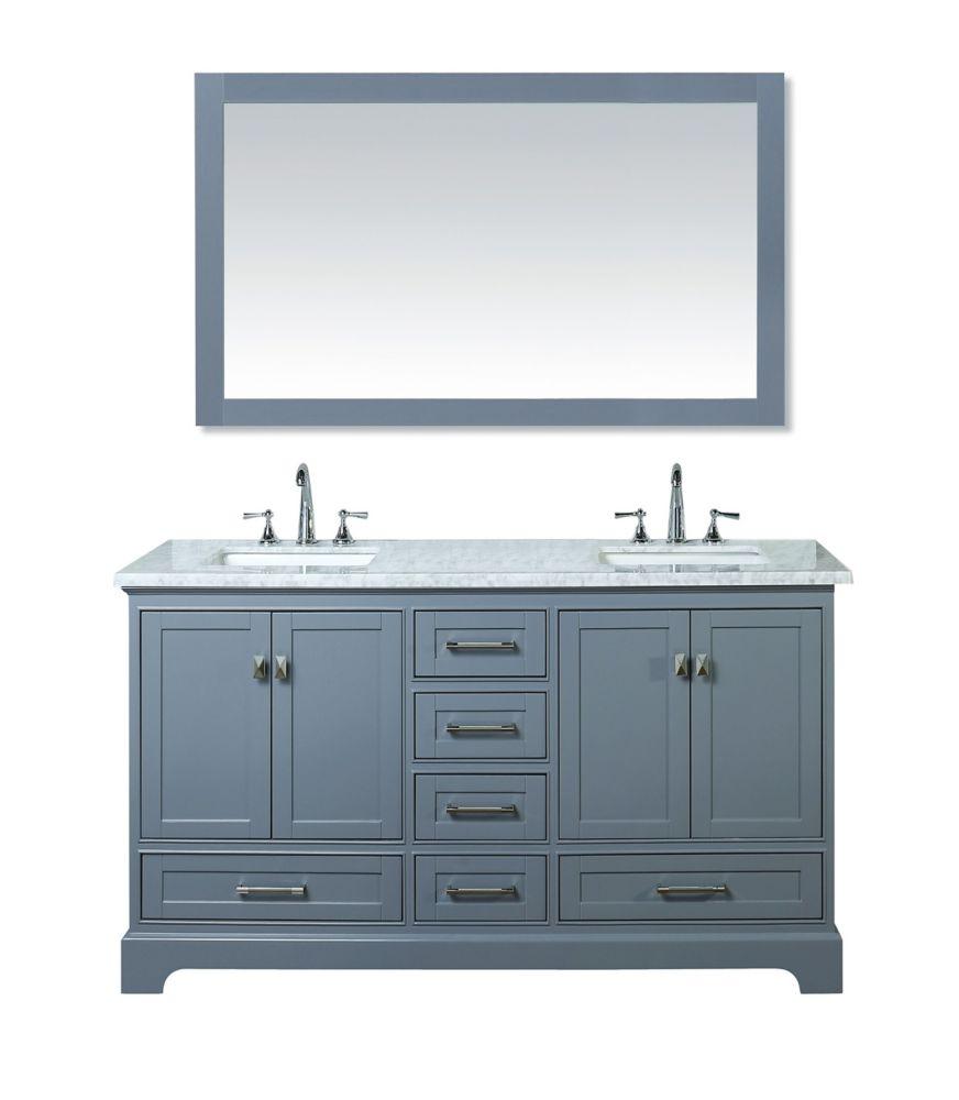 Stufurhome Newport Grey 60 Inch Double Sink Bathroom
