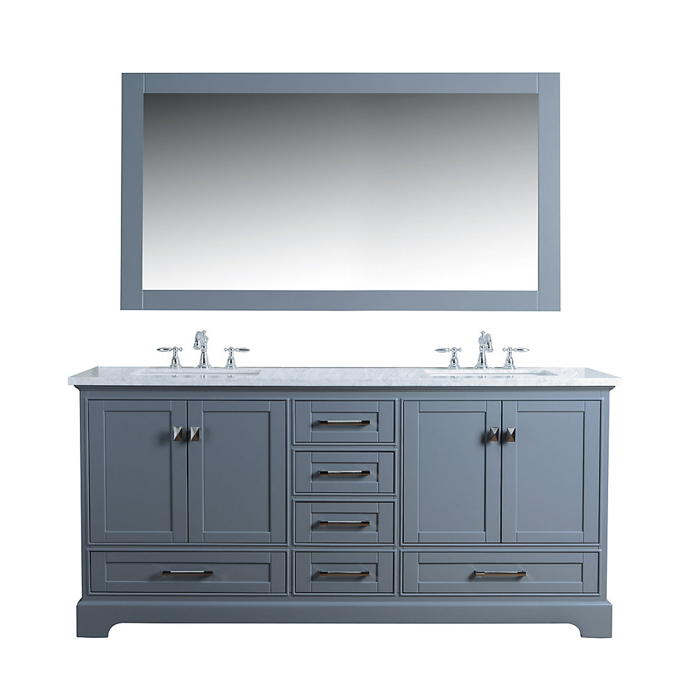 Excellent Newport Grey 72 Inch Double Sink Bathroom Vanity With Mirror Home Interior And Landscaping Ologienasavecom