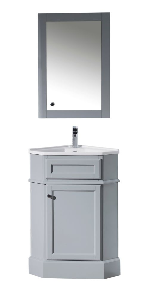 27 Inch Bathroom Vanity Combo.Hampton Grey 27 Inch Corner Bathroom Vanity With Medicine Cabinet