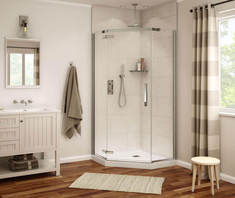 MAAX Davana 38-inch x 38-inch x 78-inch Neo-Angled Frameless Shower Stall in Dark Bronze