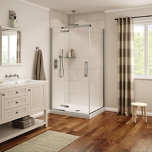 Davana 34-inch x 42-inch x 78-inch Corner Frameless Shower Stall in Brushed Nickel