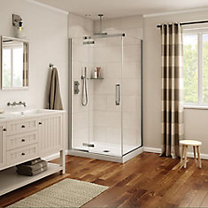 Davana 34-inch x 42-inch x 78-inch Corner Frameless Shower Stall in Brushed Nickel