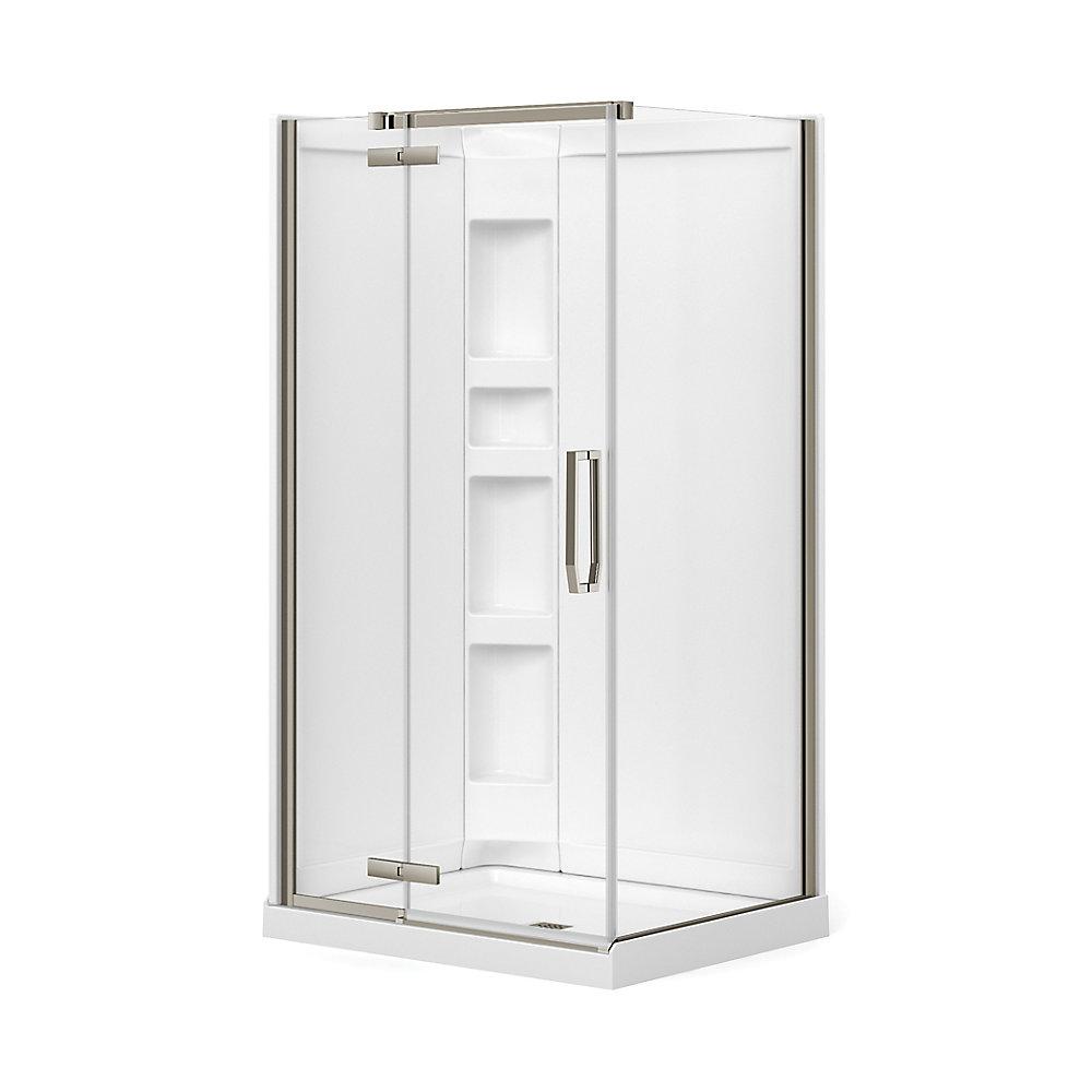 Davana 34-inch x 42-inch x 78 3/4-inch Corner Frameless Shower Stall in Brushed Nickel