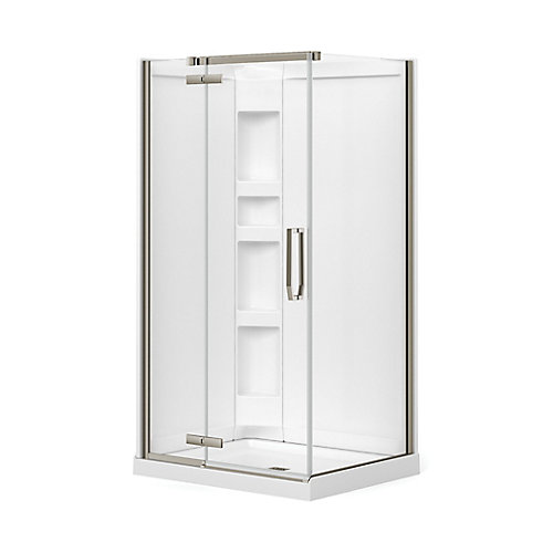 Davana 34-inch x 42-inch x 78 3/4-inch Corner Frameless Shower Stall in Brushed Nickel